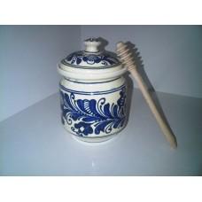 Korondi méztartó edény, mézcsurgató fával 15*10cm