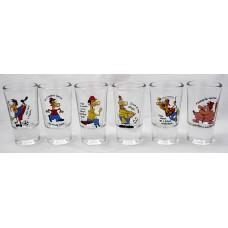 Pálinkás pohár szett*6 db - Figurák és vicces feliratok