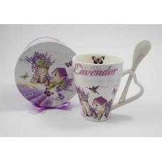 Bögre Lavender Post card porcelán kanállal díszdobozban