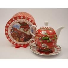 Karácsonyi teázó készlet kiöntővel és csészével