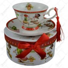 Porcelán tea készlet Hóemberes motívummal