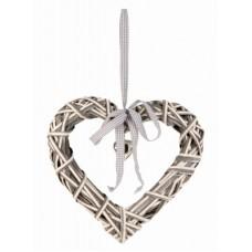 Függő háncs szív szürke-fehér 31 cm