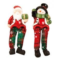 Karácsonyi logólábú figurák kockás nadrágban 15 cm