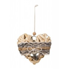 Szív dekoráció háncsból díszítéssel 9 cm