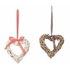 Függő szív dekoráció háncsból szürke-fehér 15 cm