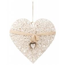Óriás fonott dekor szív szalaggal 80 cm
