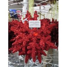 Karácsonyfadísz glitteres piros