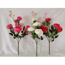 Pünkösdi rózsacsokor 7 fejes 55 cm 3 szín