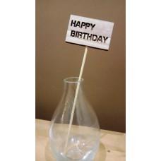 """Dekor leszúrható fa pick táblával """"Happy Birthday!"""""""