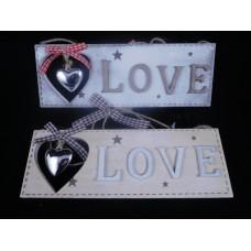 Fa dekor ajtódísz - LOVE - fém szívvel 20 cm 2 féle
