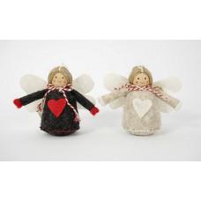 Karácsonyi angyalok nagykabátban 7 cm