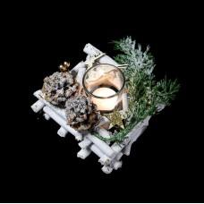 Téli asztaldísz gyertyatartó üveggel négyzet
