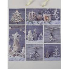 Dísztasak Karácsony natúr kék