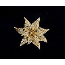 Arany mikulásvirág glitterrel csipeszes 12 cm