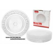 Üveg desszertes tányér nyomottmintás 18 cm 6 db/szett CBP-02