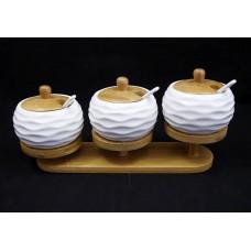 Asztali fűszertartó szett 3 részes porcelán kanállal