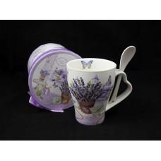 Bögre porcelán kanállal díszdobozban Lavender