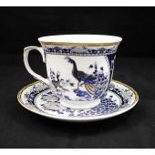 Porcelán csésze szett Kék páva II
