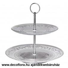 Emeletes üveg sütemény kínáló tál 26 cm