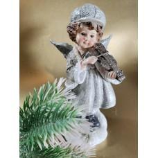 Hegedülő téli kislány 15 cm