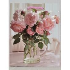 Dísztasak Rózsacsokor üvegvázában M méret 23*18 cm