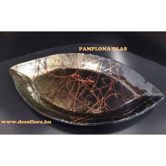 Festett üvegtál Pamplona  33*19 cm