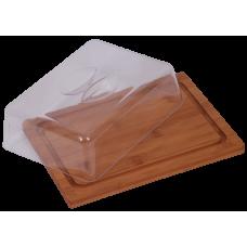 Bambusz deszka fedővel szögletes 25*19*7,5 cm