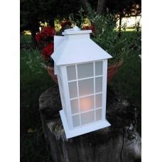Fehér lámpás elektromos lobogó gyertyával 30 cm